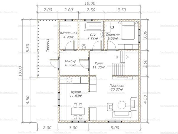 Планировка двухэтажного дома 10х8