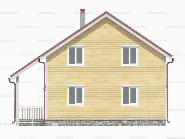 Проект деревянного коттеджа 10х8 из бруса для постоянного проживания зимой