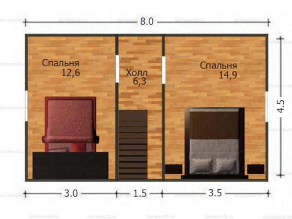 План второго этажа дома с мансардой 8х8