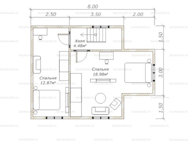 План второго этажа дома с мансардой двухэтажного дома 8х6