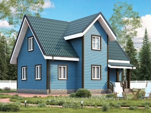 Каркасный дом с эркером 9х7