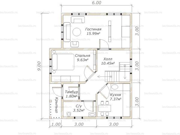 Планировка дома с мансардой 9х7