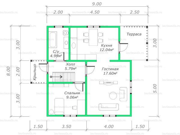 Планировка двухэтажного дома 8х7.5