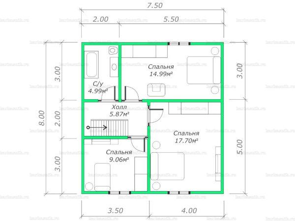 План второго этажа двухэтажного дома 8х7.5