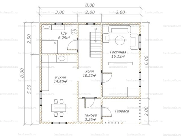 Планировка дома с мансардой 8х8