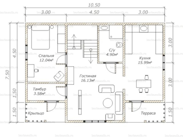 Планировка двухэтажного дома 10.5х7.5