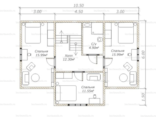 План второго этажа двухэтажного дома 10.5х7.5