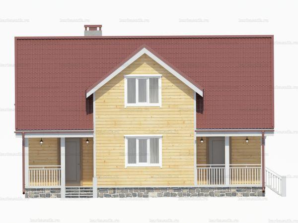 Проект деревянного коттеджа 10.5х7.5 из бруса для постоянного проживания зимой