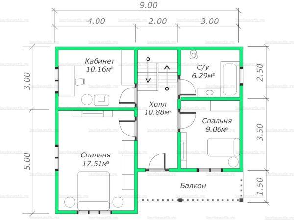 План второго этажа двухэтажного дома 9х8