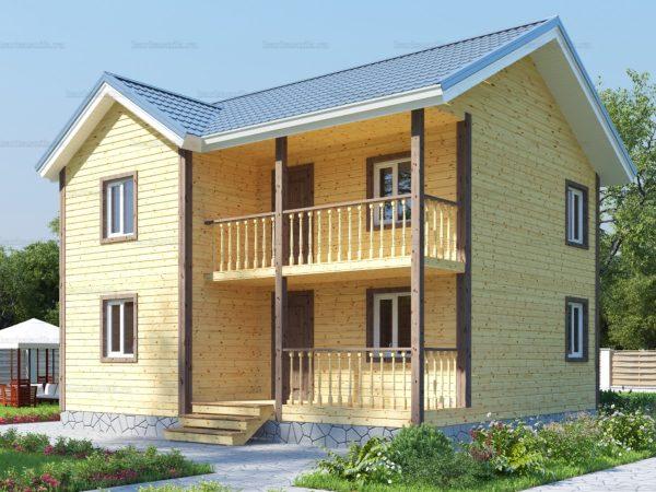 Каркасный дом с балконом 9х8