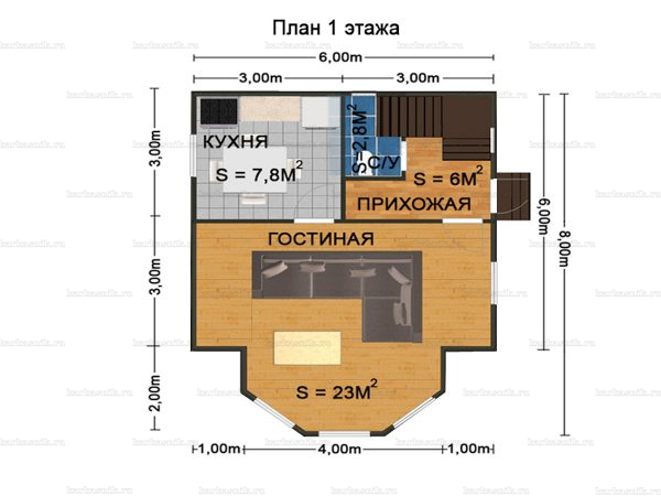 Планировка дома с мансардой 8х6