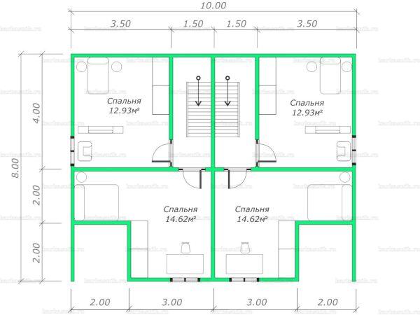 План второго этажа двухэтажного дома 10х8