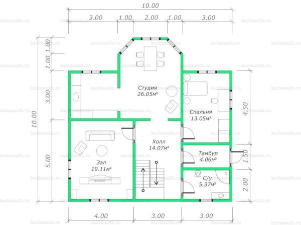 Планировка двухэтажного дома 10х10