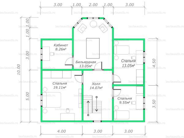 План второго этажа двухэтажного дома 10х10