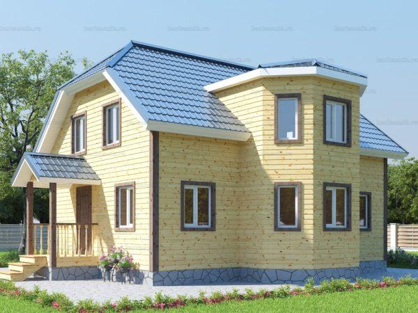 Каркасный дом с полувальмовой крышей 10х10