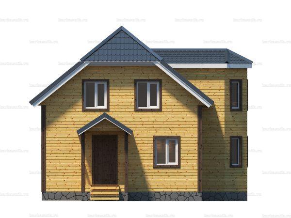 Каркасный дом с полувальмовой крышей 10х10 фото 4