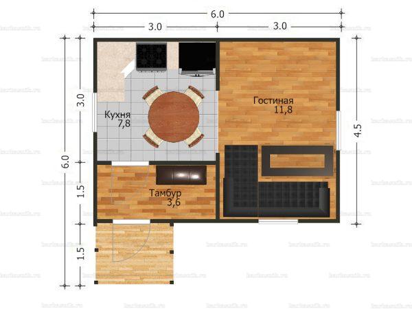 Планировка одноэтажного дома 6х4.5