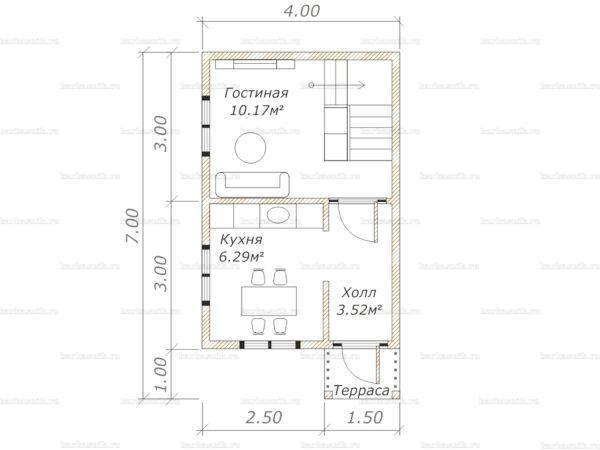 Планировка дома с мансардой 6х4