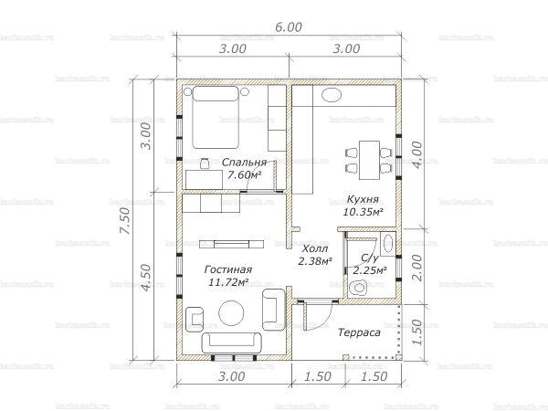 Планировка одноэтажного дома 7.5х6