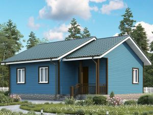 Одноэтажный дом с тремя комнатами 9х8