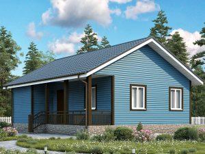 Одноэтажный дом с двухскатной крышей 9х7.5