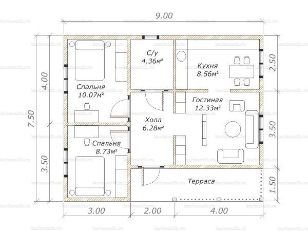 Планировка одноэтажного дома 9х7.5