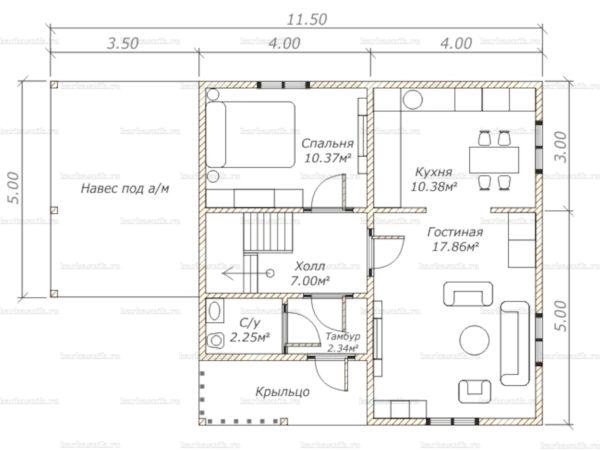 Схема планировки каркасного дома 8х8 в городе Голицыно