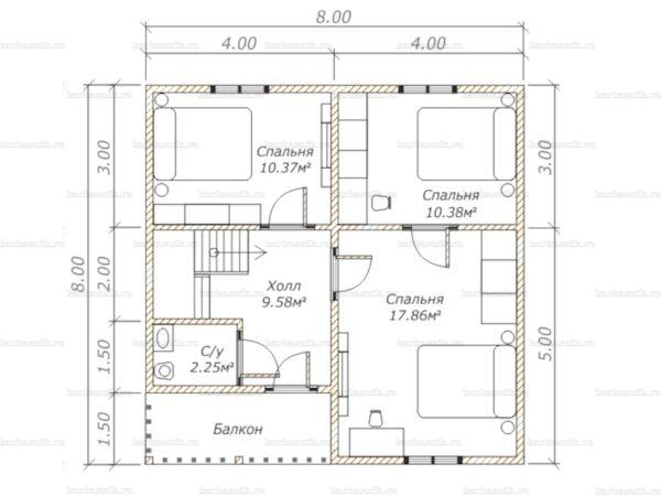 Схема планировки каркасного дома 8х8 в городе Голицыно (второй этаж)