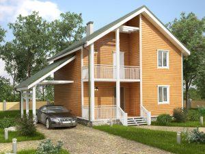 Каркасный дом с навесом 8х8