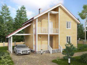 Дом с балконом 8х8