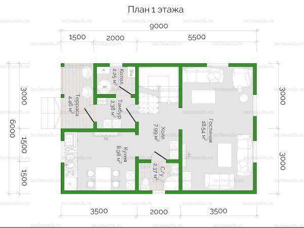 Планировка двухэтажного дома 9х6