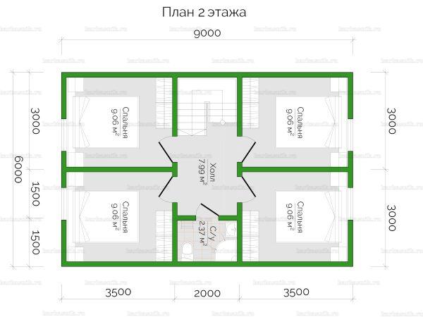 План второго этажа двухэтажного дома 9х6