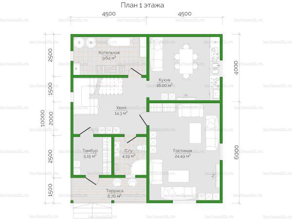 Планировка двухэтажного дома 10х9