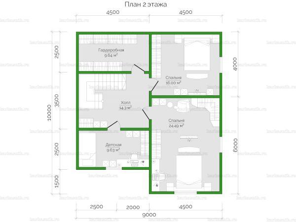 План второго этажа двухэтажного дома 10х9