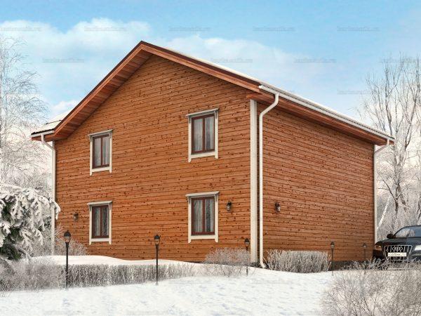 Проект деревянного коттеджа 10х9 из бруса для постоянного проживания зимой