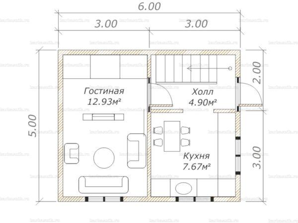 Планировка дома с мансардой 6х5
