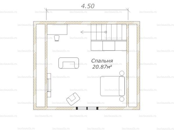 План второго этажа дома с мансардой 6х5