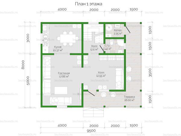 Схема планировки дома из бруса 10х8 в городе Дедовск