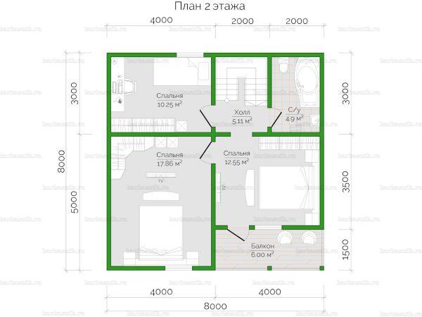 Схема планировки дома из бруса 10х8 в городе Дедовск (второй этаж)