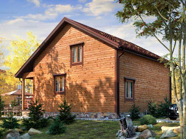 Проект деревянного коттеджа 9.5х8 из бруса для постоянного проживания зимой