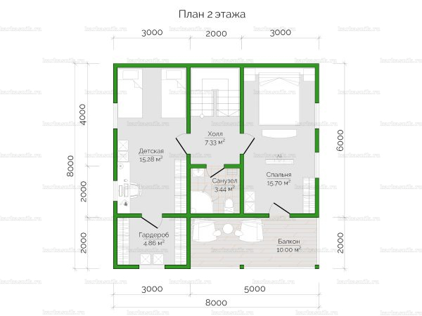План второго этажа двухэтажного дома 8х8