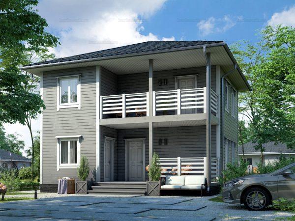 Каркасный дом с вальмовой крышей 8 на 8
