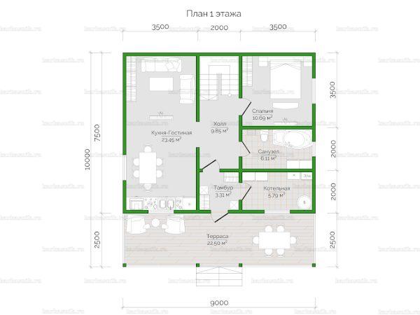 Планировка двухэтажного дома 9х7.5