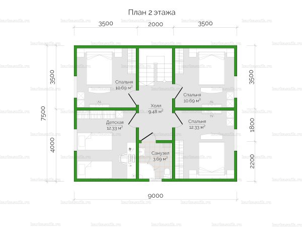 План второго этажа двухэтажного дома 9х7.5
