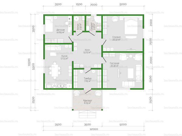Планировка одноэтажного дома 12х9