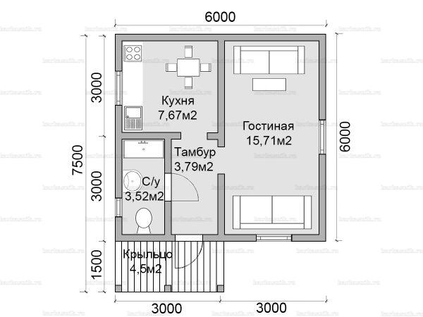 Планировка одноэтажного дома 6х6