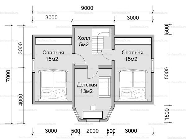План второго этажа дома с мансардой 9х7