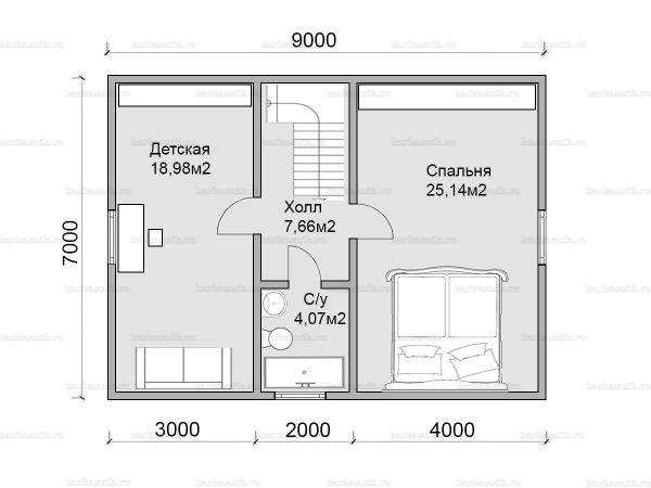 План второго этажа двухэтажного дома 9х7