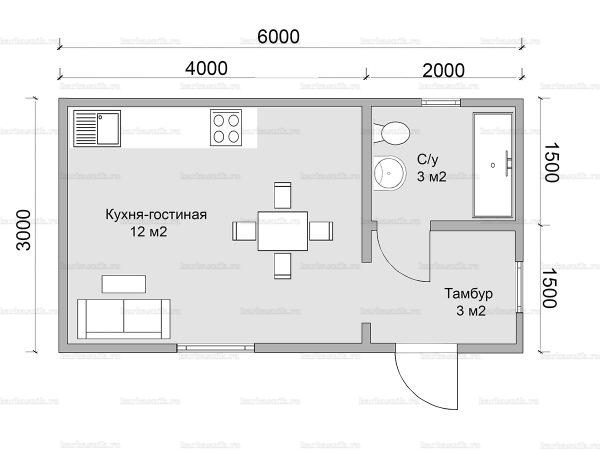 Планировка одноэтажного дома 6х3