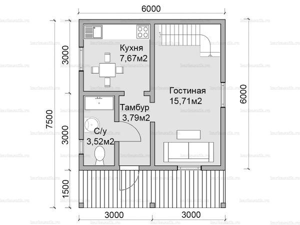 Планировка дома с мансардой 7.5х6